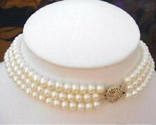 Fashion 3Rows 7-8MM Natural White Akoya Cultured Pearl Choker Necklace 16-18""