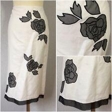 Principles Ladies White Linen Black Chiffon Floral Appliqué Pencil Skirt Uk 12
