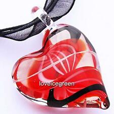 Red Black Swirl Heart Lampwork Murano Glass Bead Pendant Ribbon Necklace Cord