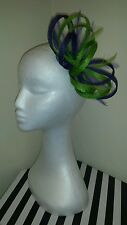 lime green and purple hatinator/ fascinator for wedding/races