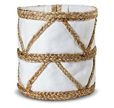 Nate Berkus Small Woven Basket with Canvas Liner - White NEW