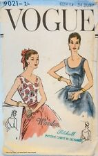 Vintage 50's Vogue Pattern 9021 Bustier Fitted Evening Sleeveless Top Blouse 2 O