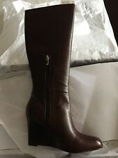 NEW Ann Taylor Loft Tall Emmy Brown Wedge Boots In Sz 8.5