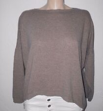 D&F Italy Oversize Pullover 36-42 braun taupe  Cashmere Wolle Lagenlook NEU