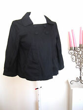 LADIES H&M SHORT SWING JACKET SIZE 10 BLACK BLAZER TOP BLOUSE 100% COTTON WORK