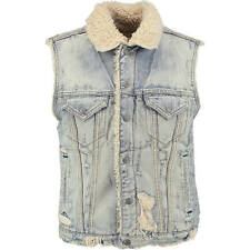 new 100% RALPH LAUREN distressed denim +shearling GILET sleeveless JACKET bnwt M