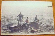 1909 Hawaiian Fisherman on Hilo Bay TH Hawaii Hilo Drug #115 Hand Tinted Japan