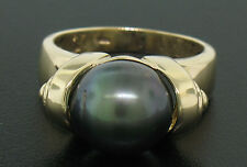14k Solid Yellow Gold 10.50mm Tahitian Black Pearl Solitaire Ladies Ring