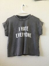 "Rare! Brandy Melville black wash cropped ""I hate everyone"" caleigh graphic top"