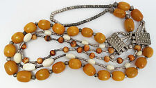 Antique Tribal Silver & Butterscotch Faturan Amber Bakelite Ethnic Necklace 195g