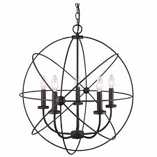 Chandelier 5 Light Orb Sphere Hanging Ceiling Pendant Globe Oil Rubbed Bronze