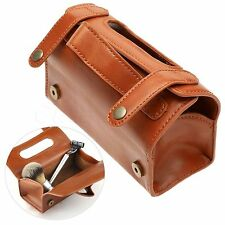 Portable Brown Leather Men Shaving Bag Travel Sports Case Razor Toiletry Bag AM