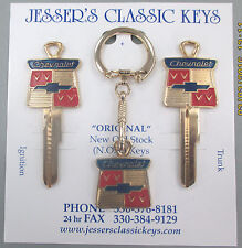 Vintage Chevrolet Bow Tie Yellow Gold B-10 Ultimate Classic Keys Set 1935-1966