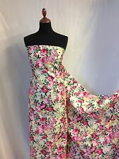 "Beautiful NEW Cotton Rose Multicolour Floral Print Fabric 43""110cm Dress Qim"