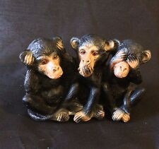 3 Monkeys Porcelain Ceramic Figurine See No Evil,Hear No Evil and Say No Evil