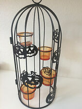 Metal Halloween Pumpkin Bird Owl Cage Candle Holder Decoration Decor Moveable