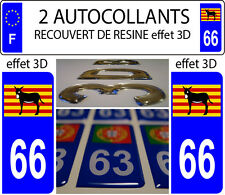 2 stickers plaque immatriculation auto DOMING 3D RESINE Ane Catalan Burro DEP 66