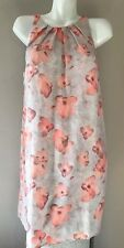MNG Suit Mango Tunic Spring Floral Flower Peach Pink Sleeveless Summer Dress L