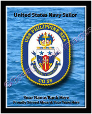 USS Philippine Sea CG 58 Personalized Ship Crest Print on Canvas 2D Effect