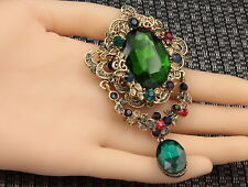 Bling green Austrian crystal mix colors oval rhinestone old gold brooch pin H09