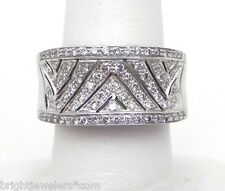 Wide Ladies 18k White Gold 1 Cts. Diamond Size 9 Band Ring