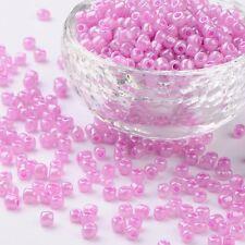 LOT DE 500 PERLES DE ROCAILLE ROSE MAUVE Ø 4 mm 6/0 CREATION BIJOUX