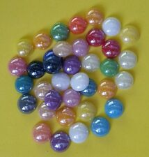 20 GLASS CABOCHONS 10mm Round ~ Flatbacked Pearlised Glass ~ Mixed Colours