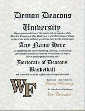 DEMON DEACONS BASKETBALL ~ CERTIFICATE ~ DIPLOMA  ~ MAN CAVE ~ GREAT GIFT