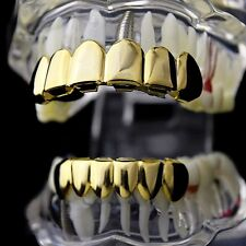 Best Grillz 14K Gold Plated Set Plain Teeth Top Bottom Slugs High Quality Grills