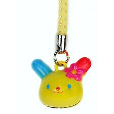 CUTE USAHANA BELL CHARM Cat Rabbit Bunny Lanyard Cell Phone Strap NEW Yellow