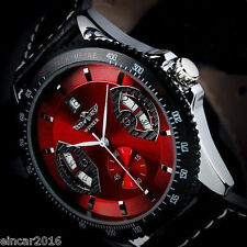 2017 New Mens Sport RED Black Leather Date Automatic Mechanical Army Wrist Watch