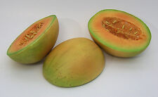 Designer One Artificial Faux Fake Half Cut Cantaloupe Melon Fruit