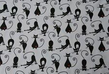 "100% COTTON FABRIC MATERIAL BLACK CATS DESIGN 160CM WIDTH 64"" PATCHWORK *REDUCED"