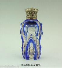 ANTIQUE OVERLAY GLASS PERFUME SCENT BOTTLE SILVER GILT SAMPSON MORDAN