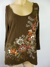 Pour Femmes Brun Motif Fleur perlé Decolleté Haut En Coton 16 UK EU 44