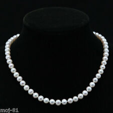 "7-8mm Natural White Akoya Freshwater Pearl Necklace 18"" AAA++"