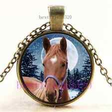 Vintage Winter Arabian Horse Cabochon Glass Bronze Chain Pendant Necklace