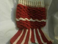 CROCHETED MERMAID DOG SWEATER IN X/SMALL, SMALL  RED AND CREAM