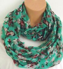 Gorgeous Vintage Style Green Floral Circle Loop Infinity Scarf Snood - New!