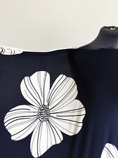 Navy/White Placement Floral/Flower Print Stretch Jersey Dressmaking Fabric