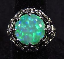 Intricate Silver 925 Filled Size 6 Ring 9mm Gorgeous Green Lab Opal Cabochon