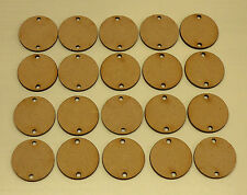 20 x LASER CUT WOODEN DISCS / CIRCLES 30mm Dia(with 2 holes) 3mm MDF