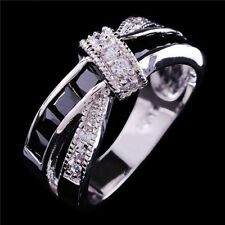 Colorful Sapphire CZ Cross Ring 10KT White Gold Filled Wedding Band Gift Sz 6-10