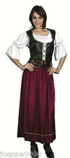 *Ladies Medieval Tavern Wench Victorian Tudor Pirate Fancy Dress Costume Outfit*
