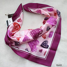 "NWT COACH PINK Heart Valentine Love Bandana 21"" Square Silk Neck Scarf NEW"