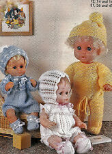 """#137 DK Doll Premature Baby Girl/Boy H12,14,16"""" Outfits x3  Knitting Pattern"""
