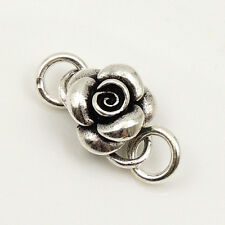 5 PCS 925 Sterling Silver Rose Flower Jewelry Making S-Hook Clasp WSP025X5