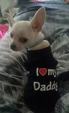 Chihuahua (Xsmall taglia) i love daddy T Shirt Blu Vestiti Per Cani Pet Clothing
