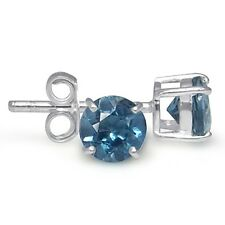 1.2ct. Genuine London Blue Topaz 925 Sterling Silver Stud Earrings