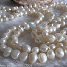 """51"""" 6-8mm White Baroque Freshwater Pearl Necklace Pearl Jewelry"""